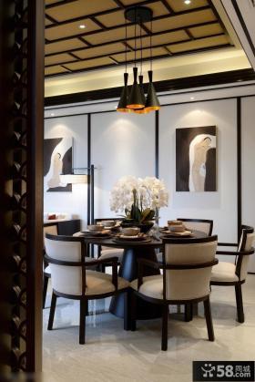 新中式风格家装别墅餐厅装修效果图欣赏