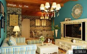 地中海风格客厅电视柜背景墙图片