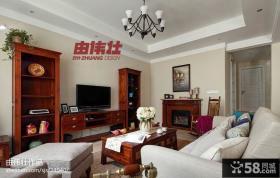 美式客厅电视背景墙装饰设计图
