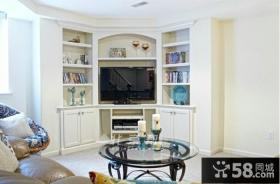 简约美式风格电视背景墙效果图