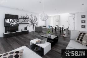 黑与白的世界简约风格电视背景墙装修效果图大全2012图片