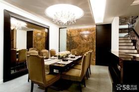 欧式别墅餐厅圆形吊顶设计效果图
