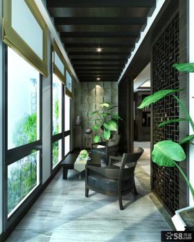中式风格客厅封闭式阳台设计效果图