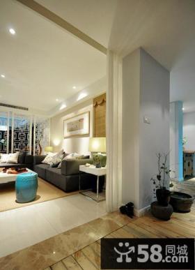 新中式风格家居客厅隔断墙装修2014