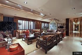 别墅客厅实木家具摆设效果图欣赏