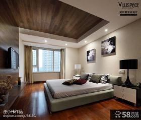 新中式卧室飘窗设计效果图