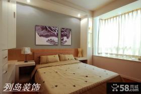 现代风格小户型卧室床头背景墙装修效果图