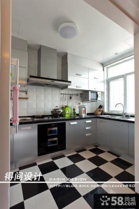 现代风格厨房地板拼花装修效果图
