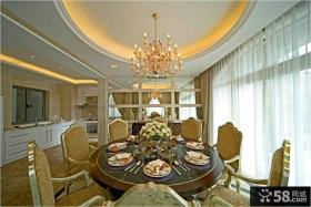 别墅餐厅圆形吊顶灯具设计