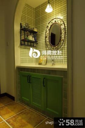 美式乡村风格卫生间洗手台瓷砖效果图