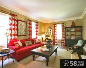 16万打造华美中式风格二居客厅窗帘装修效果图大全2014图片