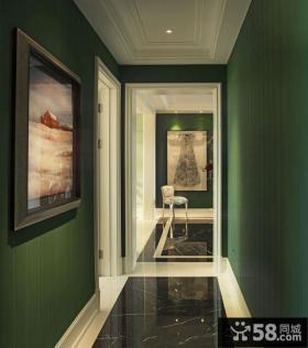 美式家居走廊墙面绿色涂料效果图