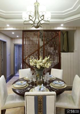 中式风格复式楼房餐厅水晶灯具图片