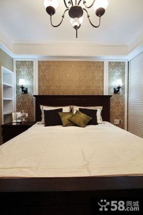 美式风格卧室床头背景墙壁纸效果图图片
