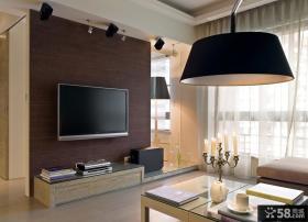 电视背景墙装修效果图 深色大芯板客厅电视墙装修效果图