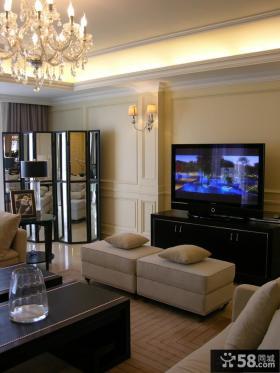 欧式风格别墅客厅电视墙装修效果图