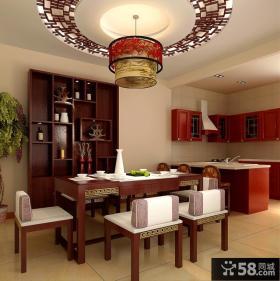 现代中式餐厅圆形吊顶造型图片