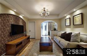 美式简单客厅电视背景墙大全