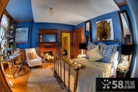 蓝色卧室木质书桌装修效果图