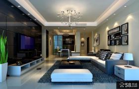 现代四居客厅大理石电视背景墙装修效果图