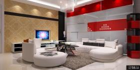 三居室时尚大气的客厅电视背景墙装修效果图