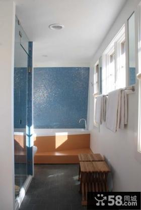 卫生间蓝色瓷砖背景墙装修效果图大全2012图片