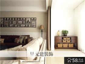 美式风格客厅阳台窗帘隔断效果图