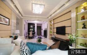 现代欧式客厅水晶灯吊顶效果图