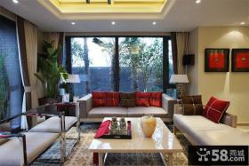 中式复古元素回归 80后白领魅力复式客厅吊顶效果图
