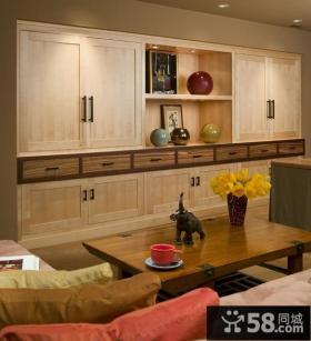 10万打造简约日式风格博古架客厅装修效果图大全2014图片