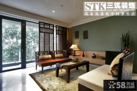 中式客厅阳台隔断装修效果图