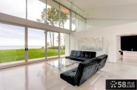 白色透明的玻璃打造复式楼客厅装修效果图大全2014图片
