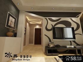 现代风格手绘客厅电视背景墙