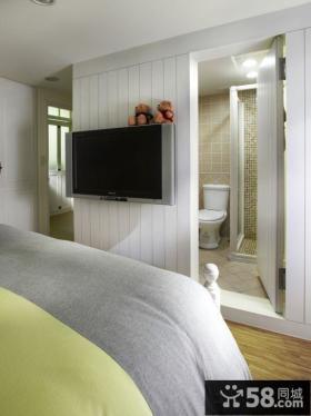 美式乡村卧室电视背景墙设计图片大全