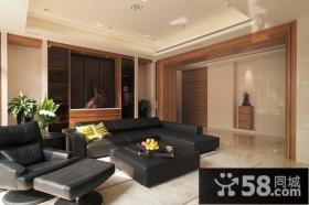 90平米黑色沙发客厅装修效果图大全2014图片