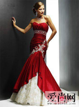红色中国风婚纱带凤凰花纹